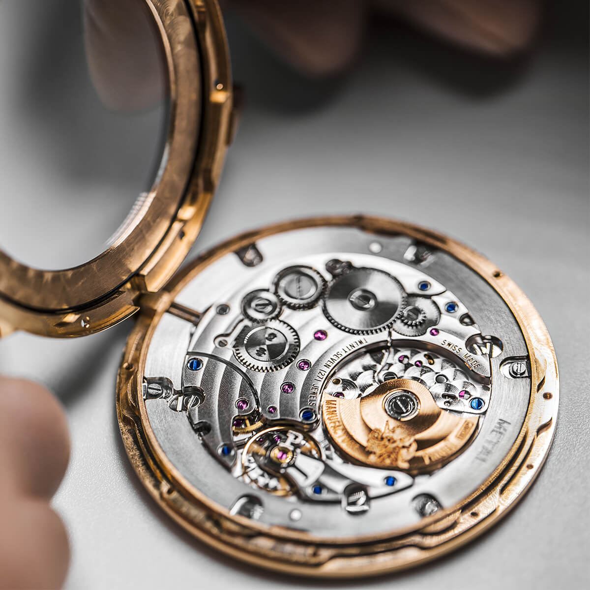 the luxury watch is dismantled for control